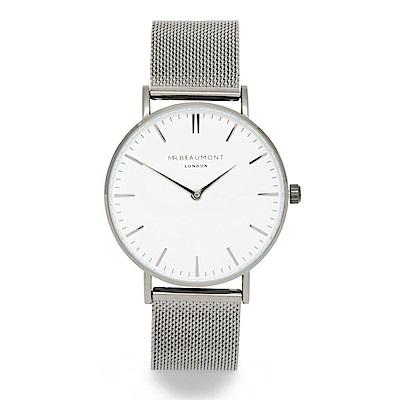 Elie Beaumont 英國時尚手錶 牛津米蘭錶帶系列 白錶盤x銀色錶帶錶框41mm