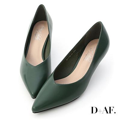 D+AF 冬日美人.素面V口尖頭中跟鞋*綠
