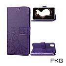 PKG Apple iPhone X/XS  側翻式皮套-精選皮套系列-幸運草-時尚紫