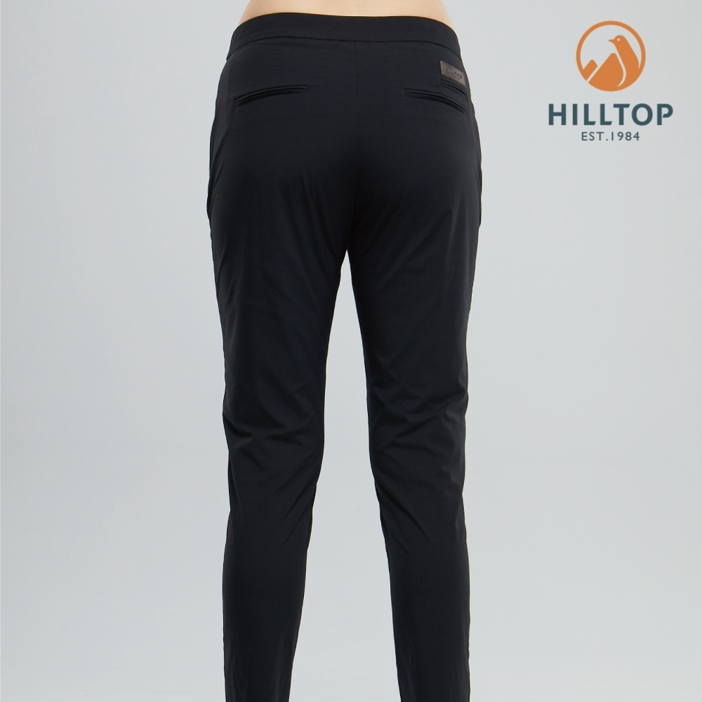 【hilltop山頂鳥】女款吸濕快乾彈性抗UV長褲S07FJ4魚子醬黑