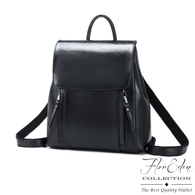 DF Flor Eden -歐美風範光澤真皮TWO-WAY肩背後背包-共2色