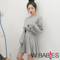 正韓 簡約泡泡袖縮腰連衣裙 (共二色)-W BABIES