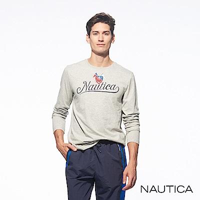 Nautica品牌LOGO圖騰長袖TEE-灰