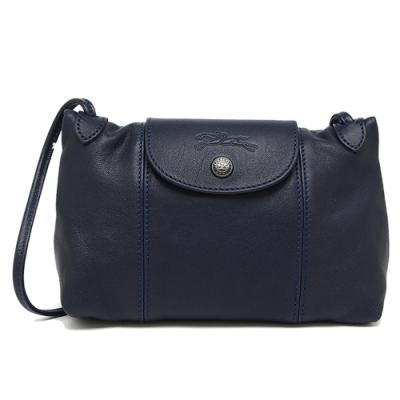 LONGCHAMP Le Pliage Cuir 新款黑扣小羊皮斜背包(黑夜藍)