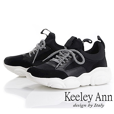 Keeley Ann 輕運動潮流 復古拼接造型大底休閒鞋(黑色-Ann)