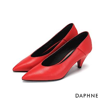 達芙妮DAPHNE 高跟鞋-真皮拼接錐型高跟鞋-紅