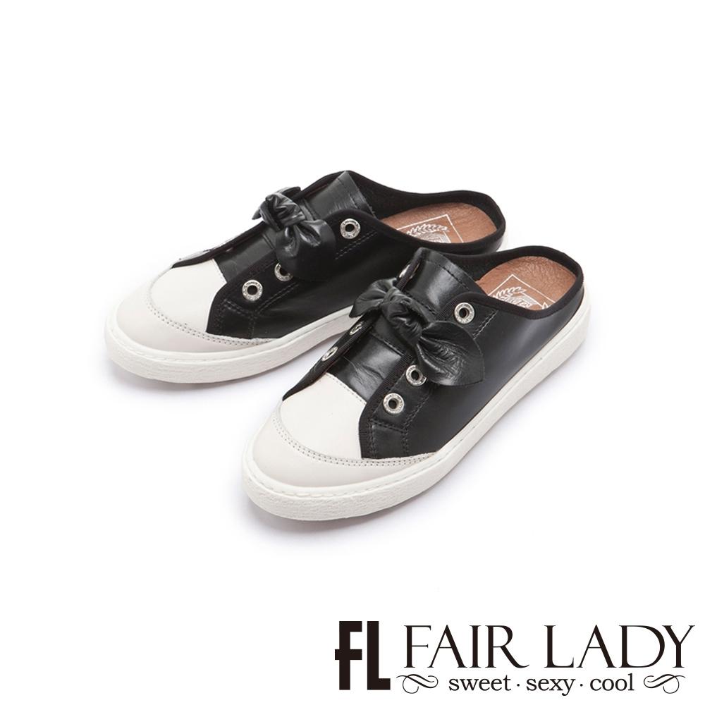 FAIR LADY Soft Power軟實力扭結造型休閒穆勒鞋 黑