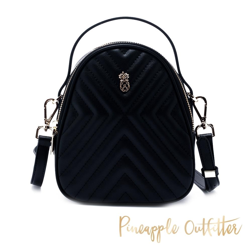 Pineapple Outfitter 輕巧可愛 真皮蛋型手提/側背小包-黑色