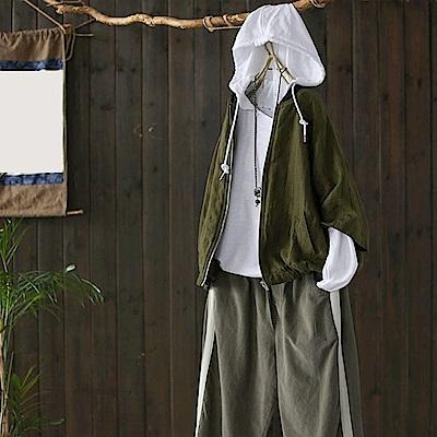 時尚立領條紋亞麻棒球服短外套休閒夾克外搭-設計所在