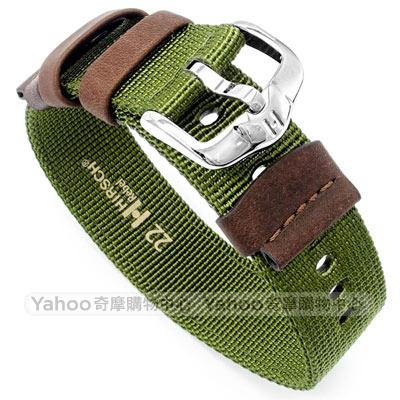 海奕施 HIRSCH Rebel 直筒型軍風帆布錶帶-綠