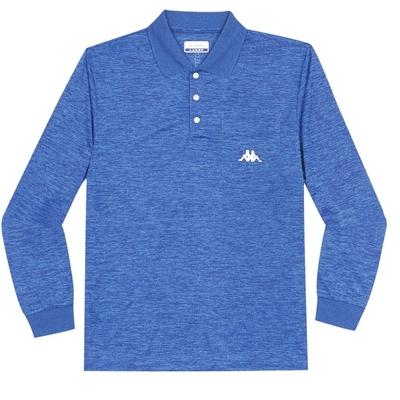 KAPPA義大利 型男吸濕排汗速乾 POLO 長袖衫 義大利藍麻花 371B86WX7F