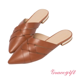 Gracegift X Annie-聯名真皮一字繫踝中跟涼鞋
