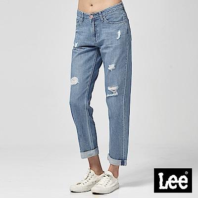 Lee 中腰合身小直筒牛仔褲中藍色洗水