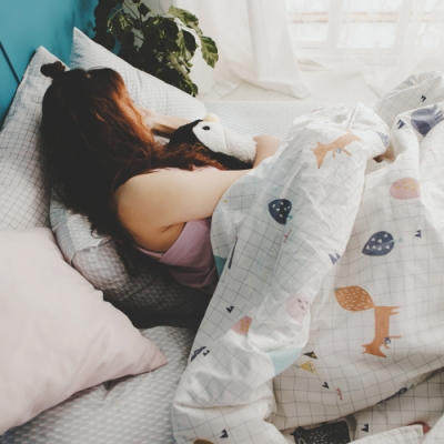 絲薇諾 MIT精梳純棉  白日夢琉璃藍  雙人加大6尺-床包鋪棉被套四件組