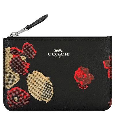 COACH 黑色花朵圖樣PVC鑰匙零錢包