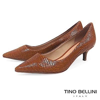 Tino Bellini 巴西進口自然立體蛇紋尖楦跟鞋 _ 棕
