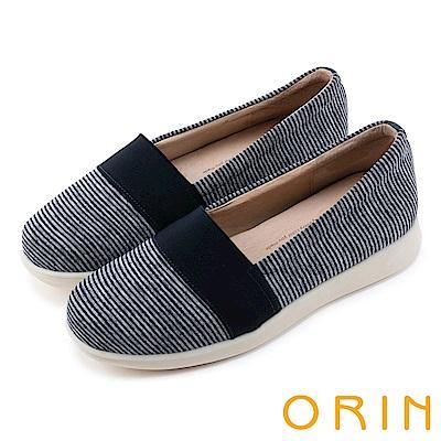 ORIN 引出度假氣氛 性格條紋平底便鞋-藍色