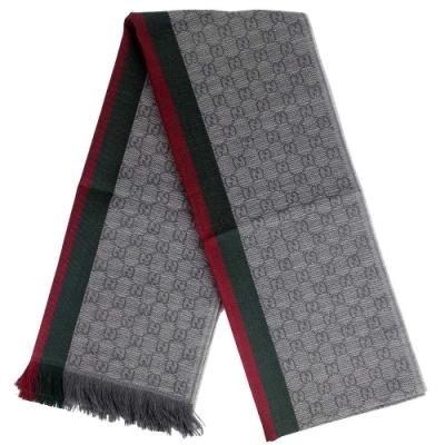 GUCCI 灰色經典條紋 G LOGO羊毛混紡圍巾