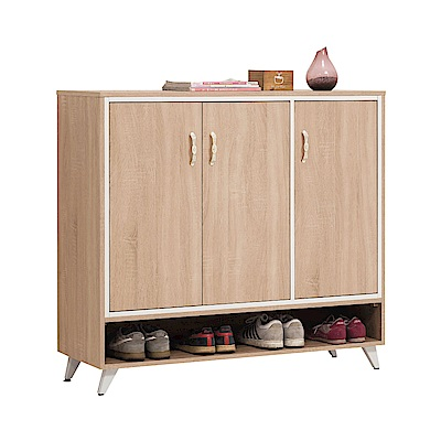 文創集 貝莉現代4尺木紋三門鞋櫃/玄關櫃-119x40x110cm免組