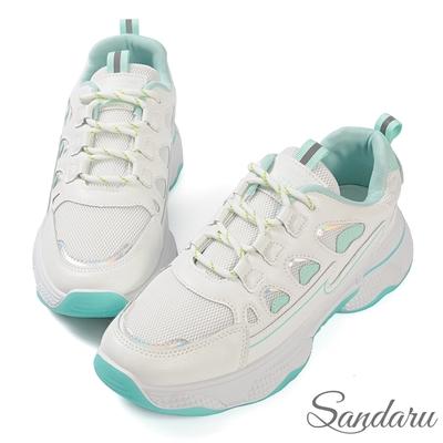山打努SANDARU-小白鞋 清新配色綁帶厚底休閒鞋-綠