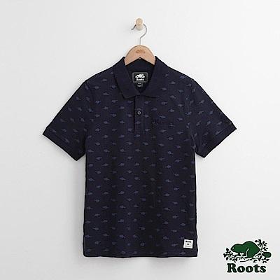 Roots 男裝-滿版海狸短袖POLO衫-藍色