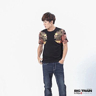 BIG TRAIN 火焰雙龍圓領短袖-男-黑色
