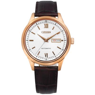 CITIZEN 星辰表 自動上鍊機械錶壓紋牛皮手錶-銀x玫瑰金框x咖啡/40mm
