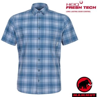 長毛象 男新款 Trovat Trail 輕量彈性透氣格紋短袖襯衫_海洋藍