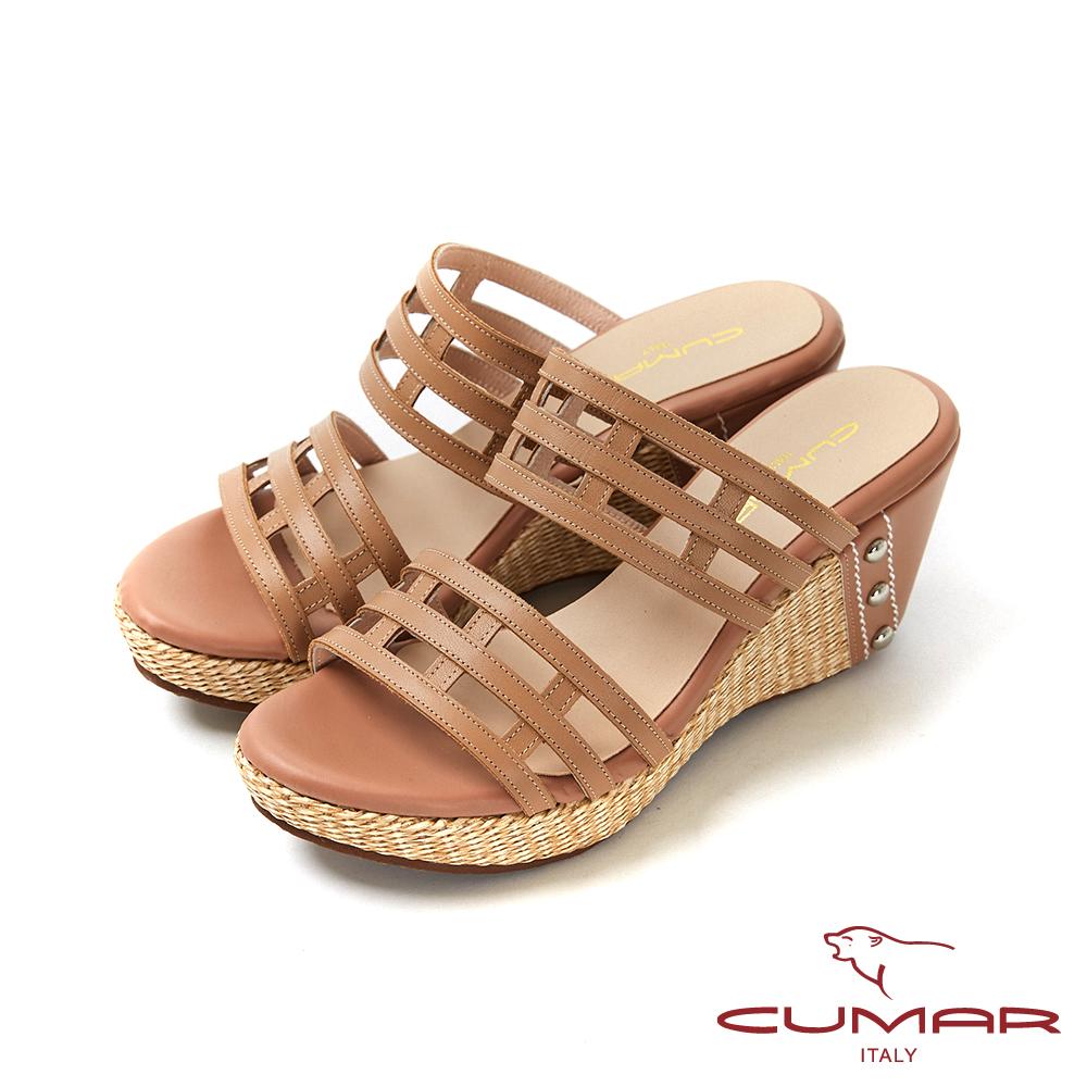 CUMAR普羅旺斯莊園- 鏤空一字帶草編楔型台涼拖鞋-棕色