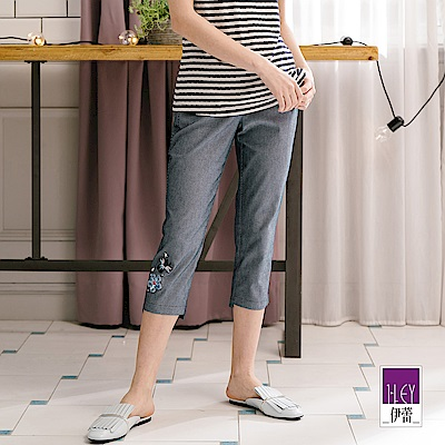 ILEY伊蕾 蜜蜂小花條紋七分窄管褲(水/藍)