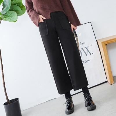 韓版寬鬆九分毛呢闊腿褲S-3XL(共三色)WHATDAY