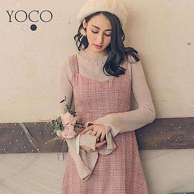 東京著衣-yoco 韓妞LOOK珍珠裝飾袖開衩針織上衣-S.M.L(共二色)