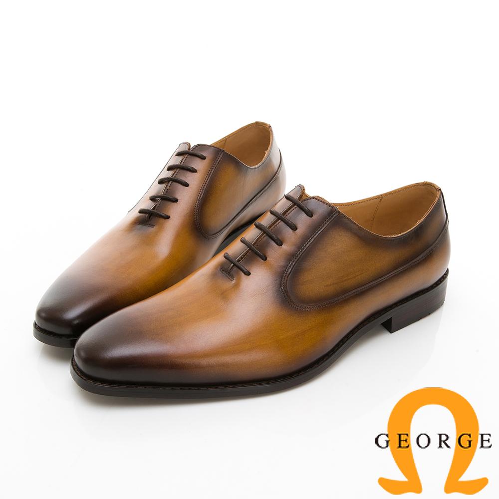 【Amber】商務時尚 漸層綁帶紳士皮鞋-棕色