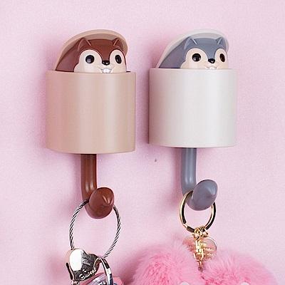 創意可愛松鼠衣帽掛勾 鑰匙/置物掛架 (1入)