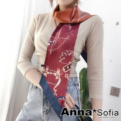 AnnaSofia 鎖鏈雙面圖斜角 窄版緞面仿絲領巾絲巾圍巾(紅橘系)