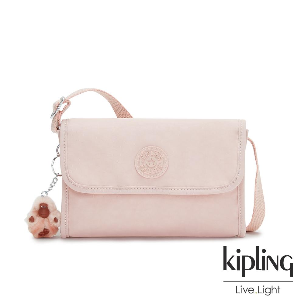 Kipling 甜美粉嫩色掀蓋拉鍊肩背包-BERRY