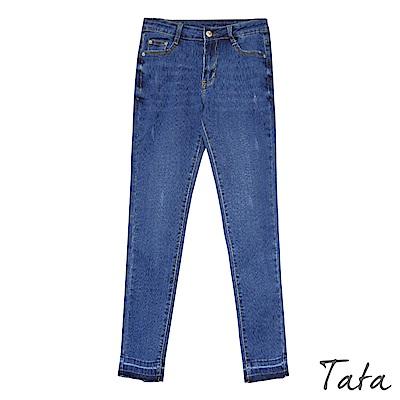 超彈力褲腳拼接窄管牛仔褲 TATA