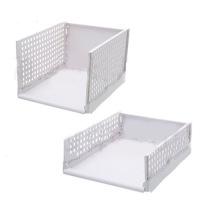 【挪威森林】可折疊多層置物架/折疊抽取式衣櫃/ 矮款2入
