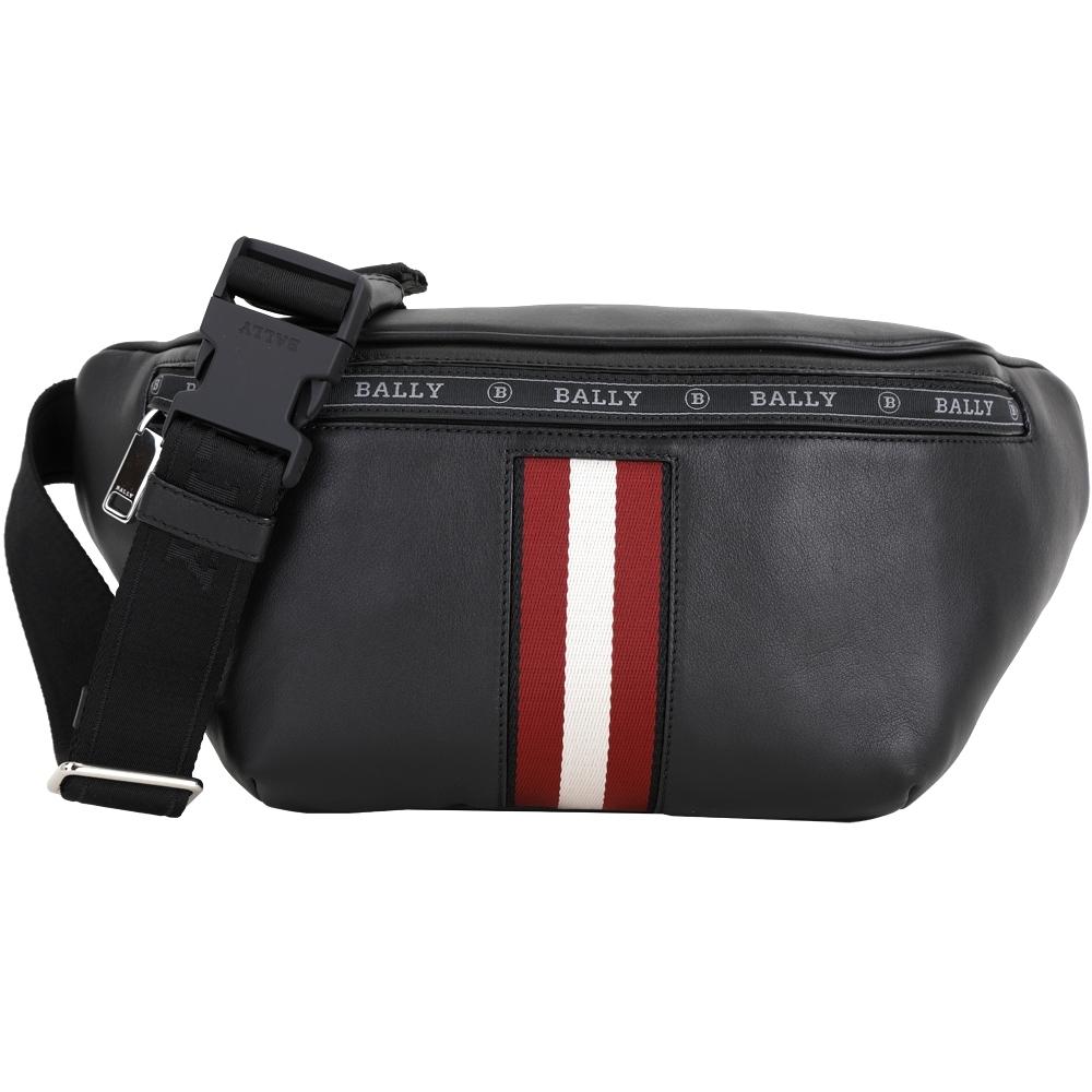 BALLY Hakab 紅白織帶牛皮肩背包/腰包(黑色)