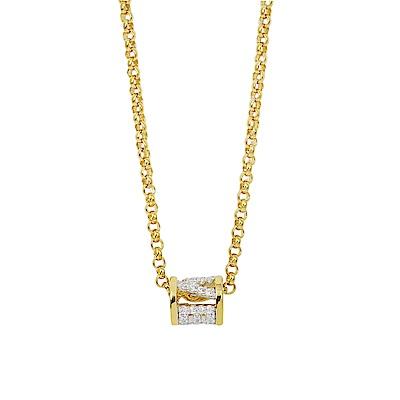apm MONACO法國精品珠寶 閃耀金色LOVE鑲鋯可調整長項鍊