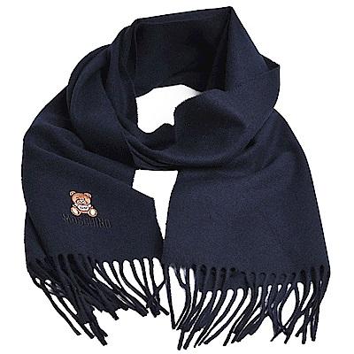 MOSCHINO 義大利製美麗諾羊毛小熊圖騰字母LOGO刺繡圍巾(海軍藍)
