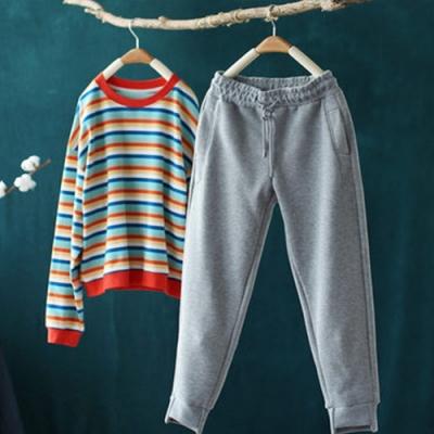 棉質繫帶鬆緊腰運動褲寬鬆束腳衛褲加絨褲-設計所在