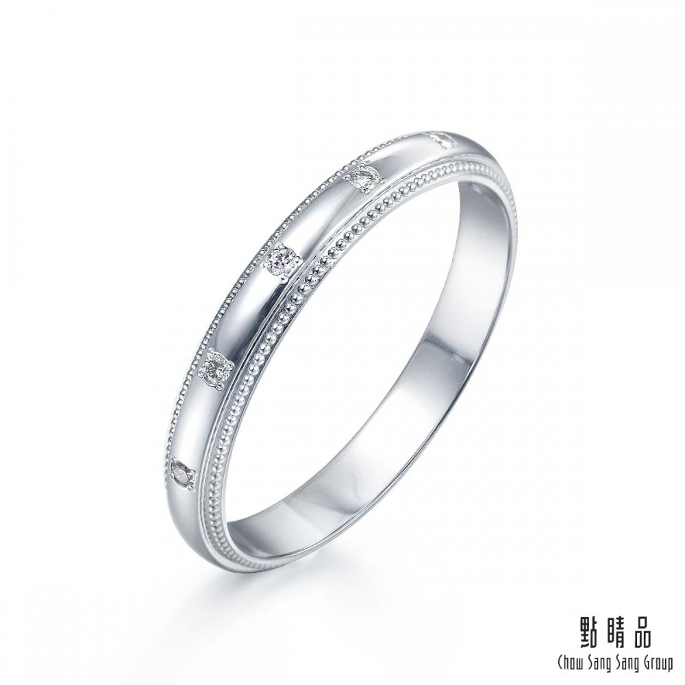 點睛品 Promessa 現代優雅 0.04克拉鉑金鑽石戒指-女戒