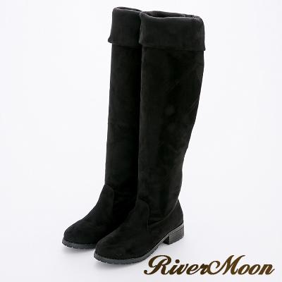 River&Moon加大尺碼-極簡素面多穿絨質平底彈力過膝長靴-黑