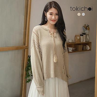 東京著衣 甜氛冬日綁帶簍洞針織長袖上衣(共二色)