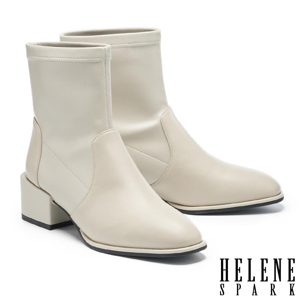短靴 HELENE SPARK 極簡時尚純色拼接造型高跟短靴-米