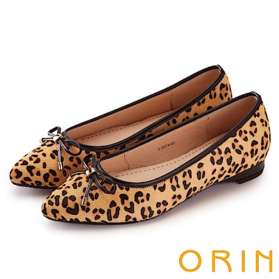 ORIN 典雅輕熟OL 牛皮百搭尖頭低跟鞋-豹紋