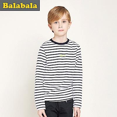Balabala巴拉巴拉-經典條紋穿著長袖T恤-男(3色)