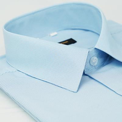 金‧安德森 藍色藍細紋吸排窄版短袖襯衫fast