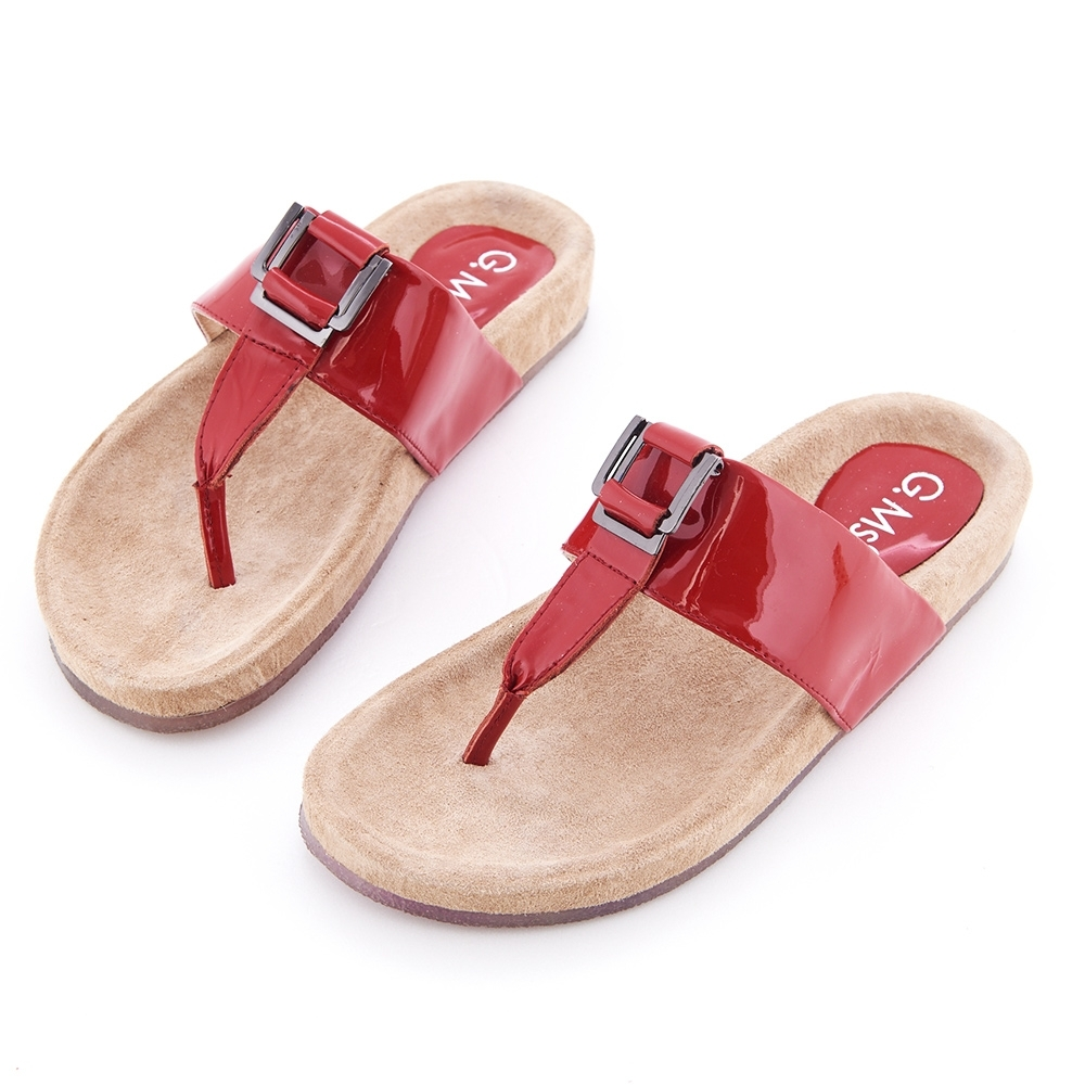 G.Ms. T字牛漆皮柏肯式夾腳平底涼拖鞋-紅色